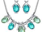 欧美zara质感奢华水晶宝石简洁大方圆蛇气质项链 耳环 套装