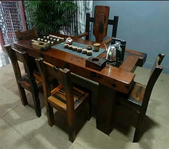 实木中式仿古家具 古船木茶桌 船木茶台厂家直销