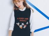 韩国新款甜美可爱卡通刺绣圆领无袖针织毛衣背心马甲女