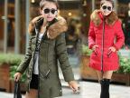 2014新款韩版修身中长款棉衣女大毛领女式女装外套冬羽绒棉服棉袄