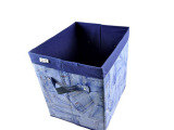 批发供应木晖仿牛仔牛津布收纳盒 文件杂物收纳筐 无盖储物盒