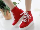 2015特价新品女鞋 韩版时尚中跟纯色女式帆布鞋平底铆钉中帮鞋子