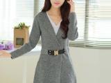 2014秋冬新款 韩版女装中长款配腰带针织开衫 修身显瘦毛衣外套