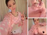 韩版女初冬必备居家服 睡衣套装女2件套 爱猫咪粉色波点睡衣女