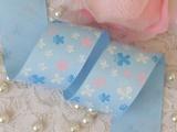 DIY辅料蝴蝶结织带,38mm蓝底小花罗纹带 绒带2.5元/米