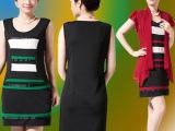 连衣裙夏季中老年女装雪纺新款大妈妈妈装短袖时尚修身两件套套裙