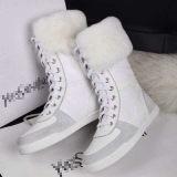 2013欧美新款真皮女靴批发头层牛皮拼接兔毛圆头平底中筒靴棉靴