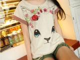 0409 日系新款女装印花短袖红格子边猫咪蝙蝠袖女式宽松T恤衫