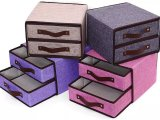 三层折叠无纺布化妆品抽屉收纳盒 收纳箱