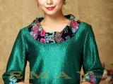 伊曼丝绸服饰2013新款中老年女装 真丝女装圆领撞色女装爆款批发