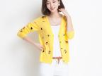 经典绣花女式V领针织衫高品质长袖羊毛衫开衫外套秋季新款空调衫