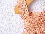 佛山夏季热销爆款蝴蝶结小碎花吊带公主裙专业供应,提供童装加工