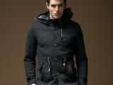 2人组 2014冬季新款毛呢大衣外套 欧美男式呢子大衣 男士风衣