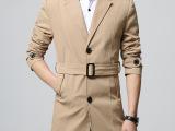 春季男士风衣青年韩版休闲腰带风衣男修身外