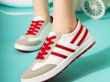 批发2015女式帆布鞋撞色拼接女鞋低帮系带韩版学生鞋布鞋一件代发