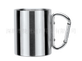 工厂供应304单双层杯子、不锈钢咖啡杯、不锈钢马克杯登山扣手柄