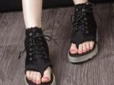 凉鞋新款潮鞋牛仔布韩版 夹趾高帮罗马靴休闲松糕厚底女式系带