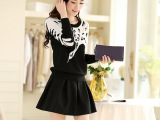 2014秋冬新款韩版连衣裙套装 修身显瘦针织上衣+半身裙两件套