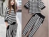 厂家直销2014欧美女装新款气质黑白条纹七分袖T恤+九分哈伦裤套
