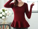 2014新款针织衫 韩版荷叶边女套装毛衫 修身女套装毛衫质量保证