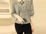欧美宽松镂空针织衫V领线衫纯色新款春秋薄外套女 套头蝙蝠袖毛衣
