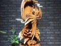 蔗洲国际根雕城,崖柏花好月圆 比翼双飞摆件精雕细琢