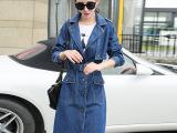 2015秋季新款韩版宽松牛仔大码系带中长款显瘦女式牛仔风衣外套女