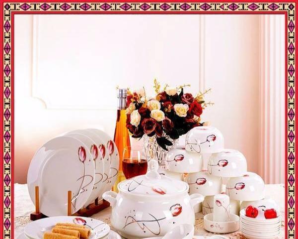 釉中彩景德镇餐具套装家用58头套碗盘碟碗筷组合中式