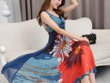 欧洲站2015夏季新款高端桑蚕丝长裙波西米亚沙滩裙大摆真丝连衣裙