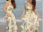 2014夏季新款韩版荷叶花边松紧收腰 雪纺连衣裙波西米亚沙滩裙