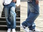 外贸大码牛仔裤街头潮高档刺绣宽松牛仔裤男 大码滑板男裤