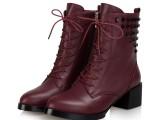 真皮高跟中筒靴女2014冬新款欧洲站棉靴粗跟马丁靴厚底女靴子女鞋