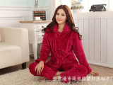 2014秋冬新款女式剪花梅红加花边睡衣 纯色保暖法兰绒睡衣套装