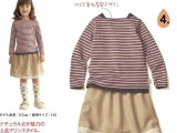 外贸童装日本千趣会女童长袖T恤条纹衫