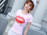 夏装新款韩版女装上衣修身学生打底印花圆领短袖T恤女