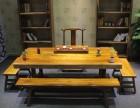 奥坎巴花实木大板桌原木红木茶桌老板桌胡桃木办公桌大班台长条桌
