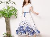 民族风尚夏季新款半身长裙 沙滩度假长半裙雪纺大摆印花显瘦裙子
