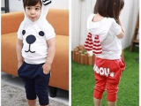 韩版童装批发 大耳朵小狗短袖哈伦裤两件套套装 男童女童夏款套装