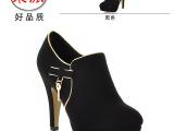 成都女鞋厂家批发 2014春秋新款单鞋 女式黑色粗跟高跟鞋一件代