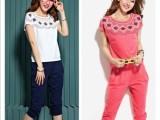 2014夏季女装新款韩版卫衣套装 印花小清新短袖休闲运动套装