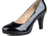 红蜻蜓厂家直销一件代发福贵真皮高跟鞋单鞋女防水台女鞋工作鞋子