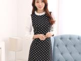 2015春装韩版修身雪纺打底裙波点百褶长袖连衣裙一件起批
