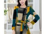 2014秋冬新款韩版修身中长款西装领羊毛呢大衣毛呢外套微信货源