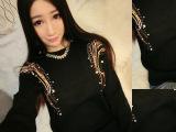 2014新款女式毛衣 韩版时尚百搭袖肩珠片女款上衣 针织毛衣女