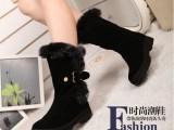 2013新款兔毛雪地靴牛皮真皮平底靴冬季靴子批发中跟
