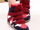批发欧洲站坡跟休闲韩版潮鞋魔术贴内增高运动高帮女鞋