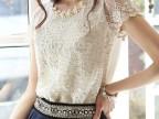 2014夏季新款韩版钉珠修身雪纺衫 网纱短袖打底衬衫女