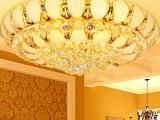 古镇厂家灯具批发欧式金色水晶灯圆形客厅灯LED吸顶卧室灯大厅