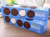 韩国进口零食品批发 乐天菠萝巧克力夹心饼