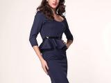 欧美风格秋季新款七分袖圆领修身包臀荷叶边裙显瘦纯色连衣裙6163